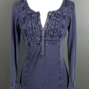 LUCKY BRAND Denim Indigo Blue Henley Shirt Medium
